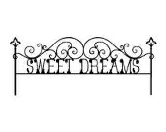 "Twin Headboard Wrought Iron Sweet Dreams Vinyl Wall Decal 42 x 17"""