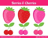 Berries and Cherries Clipart - Digital Clip Art Graphics for Personal or Commercial Use