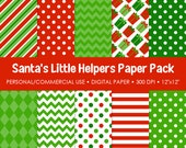 Santa's Little Helpers Digital Printable Paper Pack - For Commercial or Personal Use