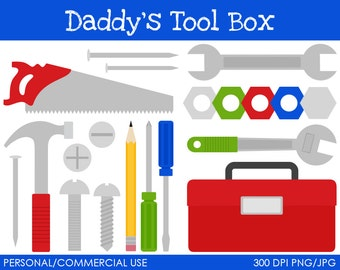 Daddy's Tool Box Clipart - Digital Clip Art Graphics for Personal or Commercial Use
