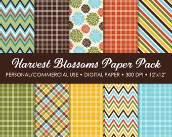 Harvest Blossoms Digital Printable Paper Pack - For Commercial or Personal Use