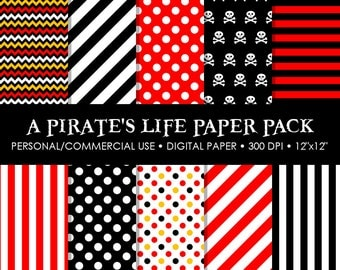 A Pirate's Life Digital Printable Paper Pack - For Commercial or Personal Use