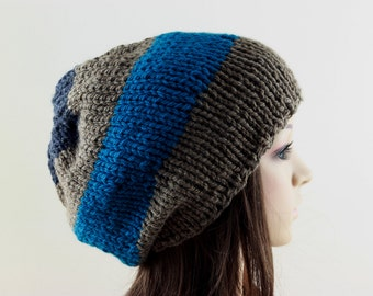 Men's Slouchy Beanie, Men's Knitted Hat, Mens Slouchy Beanie, Hand Knit Hat for Men or Woman Slate Blue Petrol Blue Anthracite and Brown
