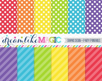 Primary Rainbow Stripes and Polkadots Digital Paper Pack for Personal or Commercial Use