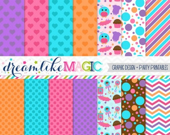 Girly Tweet Baby Bunch- Digital Paper Pack for Personal or Commercial Use