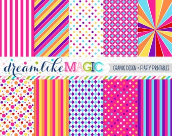 Circus Digital Paper, Clown Digital Paper, Polkadots and Stripes, Bright Colors, Printable Paper, Carnival Paper, Carousel Paper