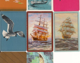 Vintage Playing Cards BOATS n BIRDS paper ephemera retro illustrations for scrapbooking collage altered art paper Crafts 2 each of 8 designs