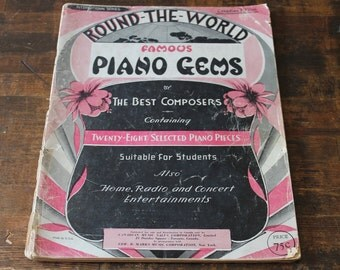 Vintage 1930s Sheet Music book Collection Round the World Famous Piano Gems by the Best Composers 28 selected pcs Paper ephemera for crafts