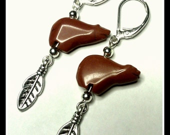 Zuni Bear Earrings Red Jasper with Feather Accent