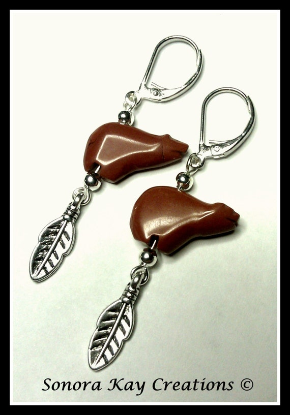 Ready to ship Zuni Bear Earrings Red Jasper with Feather Accent