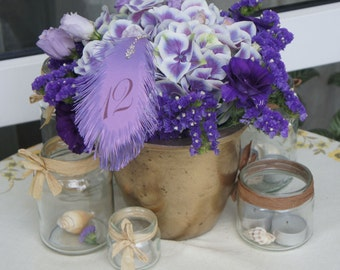 Purple wedding Table Numbers FEATHER's  (plum text color) for flower arrangement