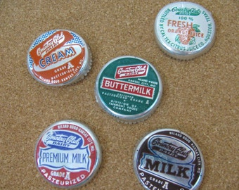 Set of 5 Vintage Foil and Paper Dairy Milk Caps Lids 1950s - Collectible - Altered Art Supply -