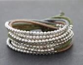Earthy Pastel Silver Beaded Wrap Bracelet Necklace