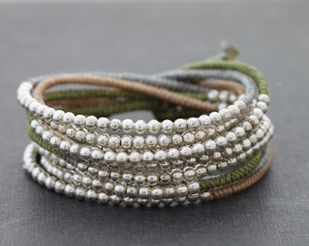 Earthy Pastel Silver Beaded Wrap Bracelet Necklace