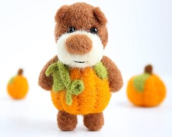 Felted miniature pumpkin pocket bear