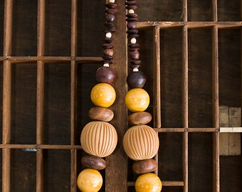 Vintage 1970s NATURA Wood Bead Necklace