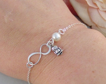 Infinite Wisdom,Bracelet,Bridesmaid,Owl,Owl Bracelet,Thank You,Sterling Silver,Infinity,Silver Bracelet,Infinite.Valleygirldesigns.