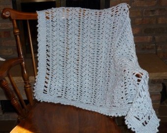 Light Blue Crocheted Lacy Baby Afghan