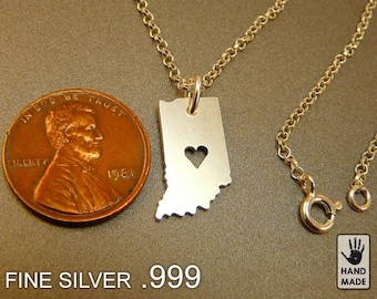 Indiana State Map Handmade Personalized Fine Silver .999 Necklace in a gift box