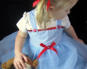 Dorothy Dress: tutu dress, blue and white gingham with red sparkle, adjustable, birthday party, costume, wonderful wizard of oz, dress up