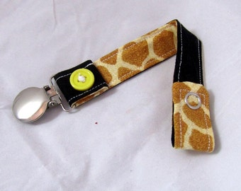 Pacifier Clip with Snaps Double Sided - brown giraffe/black solid
