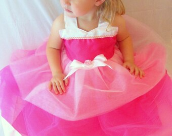 Sleeping Beauty costume: Aurora tutu dress, hot pink light pink & white, birthday party, princess dinner trip, adjustable, halloween costume
