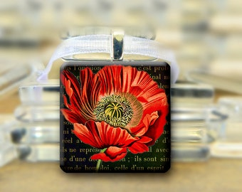 Red Poppy Pendant -  1 inch glass square tile necklace Black Vintage Style #019