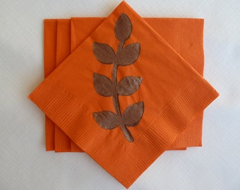 Orange and Brown Leaf Paper Cocktail/ Luncheon/ Dinner Napkins