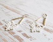 Lace and Silver Earrings - Eudora in Ivory - Lace Bridal Earrings - Elegant Statement Jewelry