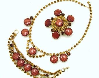 Vintage Necklace Bracelet Brooch In Orange Striped Lucite & Citrine Rhinestones