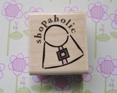 Shopaholic, Purse, Shopping - Stampabilities Rubber Stamp