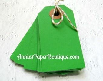 25 Small Parcel Tags - Green - Hang Tag, Shipping, Gift