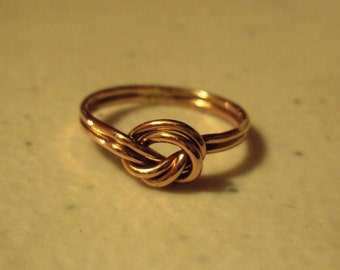 Double band knot ring, 14kt rose gold filled, 18g,