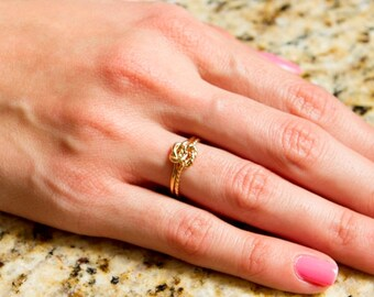 Set of 3 love knot rings, gold knot ring, gifts for her, bridesmaids, weddings, moms, mothers, friendship,