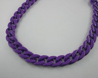 30 inch.PURPLE Chunky Chain Plastic Link Necklace Craft DIY DecorationsvFindings (Flat). C17