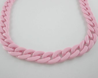 30 inch. Light Pink Chunky Chain Plastic Link Necklace Craft DIY Decorations Findings (Flat) (Big Size) CB4