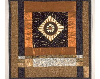 Quilt Art Collage Wall Hanging Abstract Geometric Patchwork Asian Medallion Torri Gate
