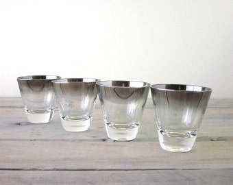 Vintage Silver Ombre Cocktail Glasses Barware Set of Four