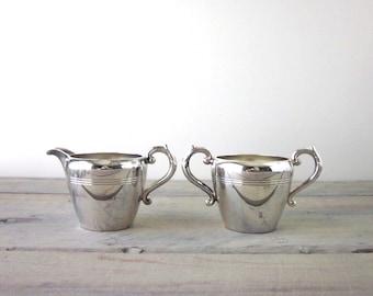 Silver Plate Creamer and Sugar Set Wm A Rogers