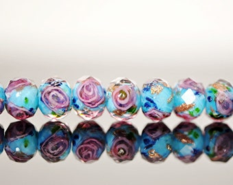 43Pcs Lampwork Flower Glass Faceted Rondelle Aqua 9x12mm  -(LL03-6)