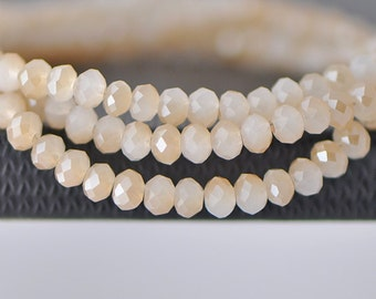 Faceted Rondelle Glass Crystal Beads White Champagne 3x4mm-(BZ04-81) / 140Pcs