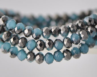 Faceted Rondelle Glass Beads 4x6mm 95pcs / BZ0640