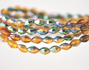 Oval Crystal Glass Faceted Rice beads 3x5mm Amber Green -(MZ03-7)