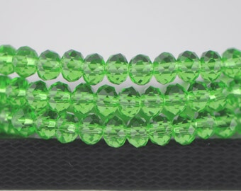 Rondelle Crystal Glass Faceted Beads 4x6mm Green -(BZ06-80)/ 95pcs