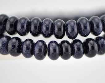 Blue Gold Stone Rondelle Smooth beads 8x5mm -(V6019)/ 78pcs