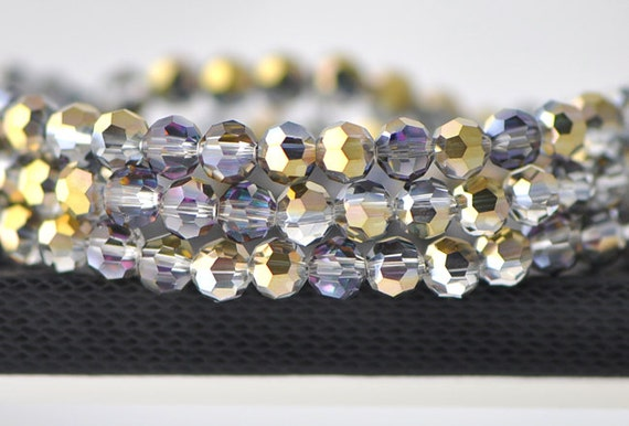 95pcs Round Faceted Crystal Glass Beads 6mm Rose Gold- (32QZ06-15)