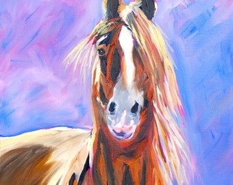 Impressionist Modern Fine Art Original Oil Painting Animal Horse by Rebecca Croft