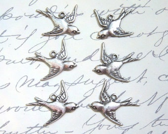 Antique silver sparrow charm drops, lot of (6) - FP301
