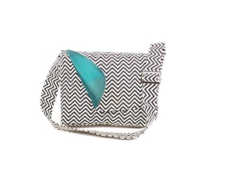 Chic Chevron Stripes Messenger Hipster Bag /  Macbook Bag with Turquoise