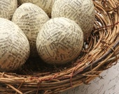 Half Dozen Antique Dictionary Paper Mache Eggs Complete with Nest, Aged Paper, Ivory